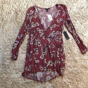 Plunging Long-Sleeved Floral Forever 21 Dress